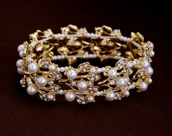 Crystal floral  bracelet, Wedding rhinestone cuff, ,Vine design , Wedding pearl bracelet, Silver, Strech bracelet,Gold, SIlver