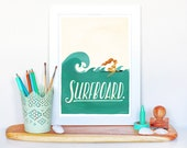 Surfboard Typography Poster, Pop Illustration, Music Art Print