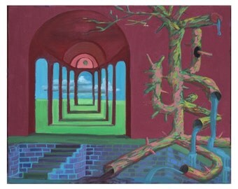 Original Art Print, Modern Art Print, Psychedelic Artwork, Sacred Geometry Painting, Landscape