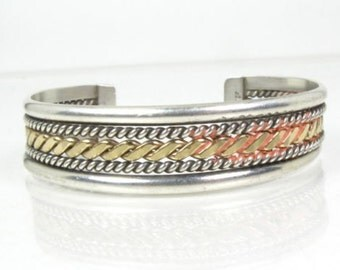LADIES Sterling Silver and Gold Cuff Bracelet Twisted Rope Design -- 22.6g -- Probably Navajo