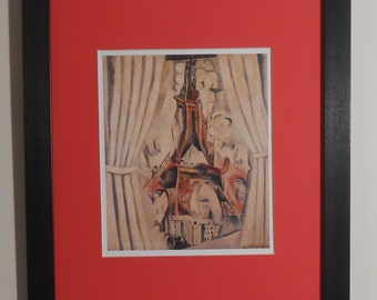 """Mounted and Framed - The Tower Behind Curtains Print by Robert Delauney - 14"""" x 11"""""""