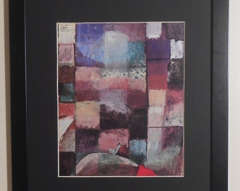 """Mounted and Framed - On a Motif from Hamanet Print by Paul Klee - 16"""" x 12"""""""