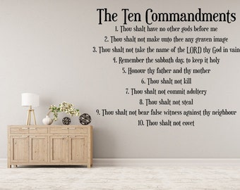 The Ten Commandments Vinyl Wall Decal, 10 Commandments Decal, Vinyl Wall Art, Wall Decor, Custom Vinyl, The 10 Commandments Wall Art