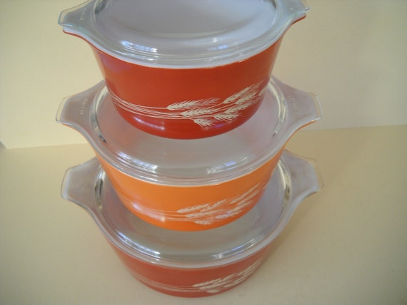 Set Of 3 Pyrex Autumn Wheat Casseroles By Modernaire On Etsy