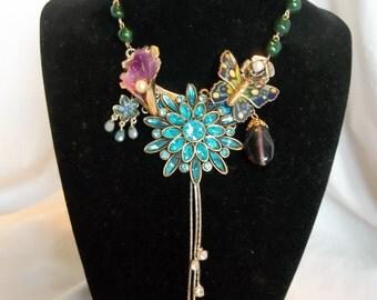 Vintage Victorian Flower Wedding Rhinestone Brooch Collage Statement Necklace