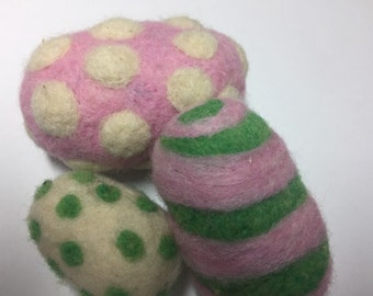 Needle felted Easter eggs, set of three, Easter decoration, Easter decor