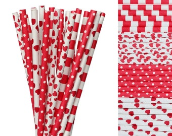 Valentines Day Paper Straws Mix-Red Straws-Valentines Day Decor-Heart Paper Straws-Sweethearts Paper Straws-Striped Straws-Sweet 16 Birthday
