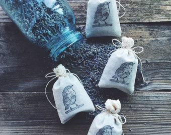 LAVENDER  // Sachets // Dried Lavender Flowers // Fir // 3x5 All-Cotton Muslin Bags // Drawer Sachets // All Natural // Handmad