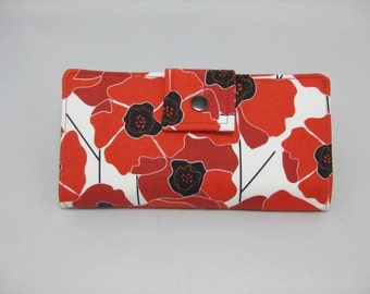 Women's Handmade Wallet, Large Red Poppies, BiFold Clutch,