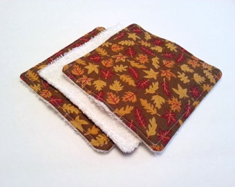 Autumn Leaves Dish Rags / Brown Dish Rags / Small Dish Rags / Small Washcloths / Fall Kitchen Decor