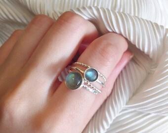 Labradorite Ring Set | Stacking Ring | Labradorite Ring |  Stack Rings