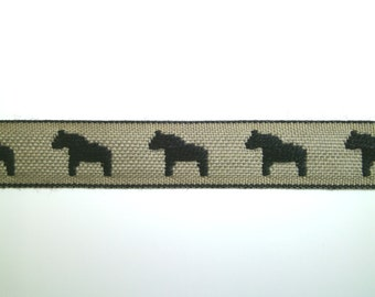 "1 m Woven Ribbon ""Horse of Sweden"" 15 mm w 100 % cotton from Sweden"