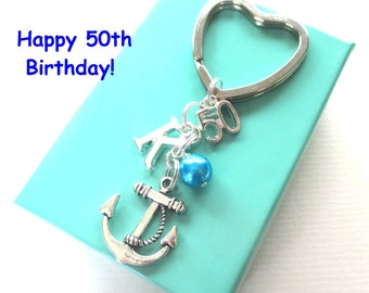 50th birthday gift - Anchor keychain - Personalised 50th keyring - 50th birthday - Anchor keyring with pearl - Initial keyring - UK seller