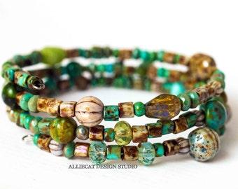 Beaded Bracelet, Handmade Bracelet, Boho Bracelet, Turquoise Green Picasso Bracelet