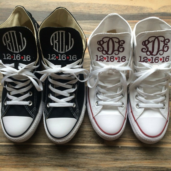 291c8ff3abc4 Wedding Embroidered Monogrammed Converse Hi Top Sneakers 30%OFF ...