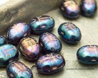 5 Blue Iris Aurora Borealis Finish 10x14mm Scarab Czech Glass Beads (SB205)