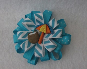 Blue Summertime Stacked Ribbon Hair Bow