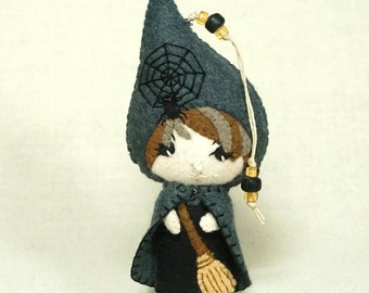 Felt Witch Doll Ornament, Sweet Witch, Wool Felt Halloween Plushie Decoration *Ready to Ship