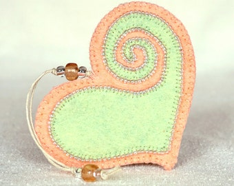 Beaded Peach & Mint Green Heart #1, Mother's Day Heart, Wedding Favor, Proposal Idea, Anniversary Gift *Ready to ship