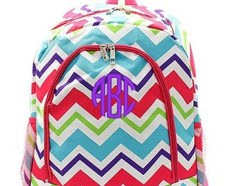 Personalized Chevron Backpack Monogrammed Bookbag Multi Pink Purple Aqua Large Full Size Kids Tote School Bag Embroidered Monogram Name