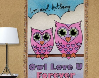 Personalized Owl Love U Forever Tapestry Throw Blanket