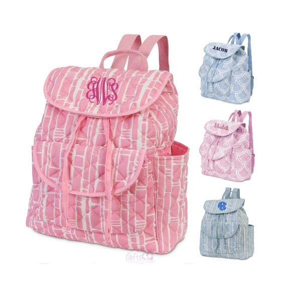 monogrammed large quilted backpack baby diaper by giftshappenhere. Black Bedroom Furniture Sets. Home Design Ideas