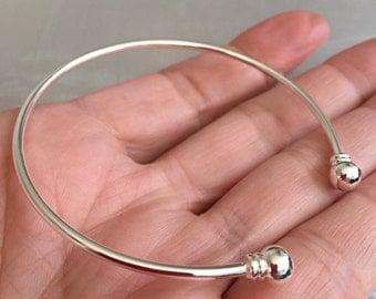 Open Bangle bracelets silver plated bracelets set of 5