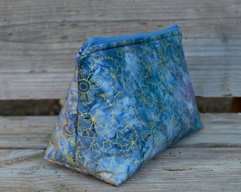 Small Zippered Project bag, Zippered Cosmetic Bag Blue Batik Fabric w/ gold accent flowers, Crochet Bag, Travel organizer, Zipper Pouch
