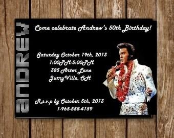 Elvis Personalized Birthday Invitation