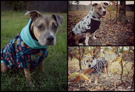 CUSTOM LARGE DOG sweater/ pitbull / fleece/ sweater/dog coat/dog jacket/ large breed