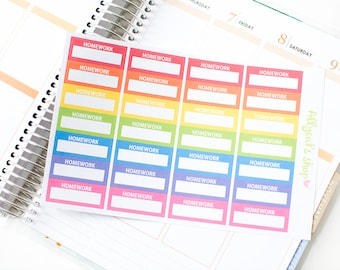 Homework Labels - Planner Stickers