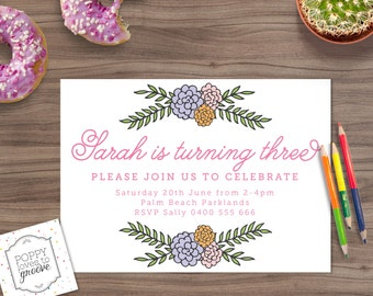 Printable Birthday Invitation, Flower Print Party Invitation, Custom Invitations, Kids Party Invite, Birthday Invites, Digital file, 5x7