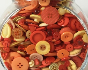 100g Mixed Assorted Bag Buttons - Citrus Yellow and Orange
