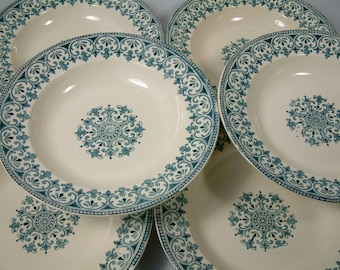 Set of 6 Antique french ironstone teal green transferware soup plates. Teal green transferware. French transferware. Christmas serving.