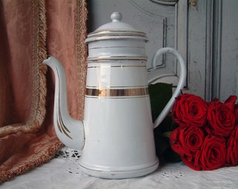Antique french enamel coffee pot. White and gold enamel coffee pot. French Shabby chic white kitchen decor.  French shabby kitchen.
