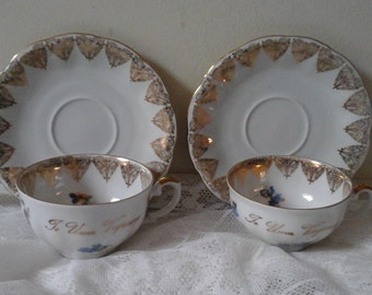 Vintage 2 Cups and Saucers with little flower decor & golden inscription  ...Tea for Two...Birthday Git...