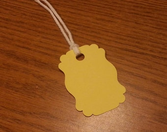 20 Pastel Yellow Tags, Hanging Labels, Hang Tags, Card Stock, Gift Tags, Gift Bag Tags