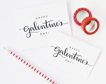 SET OF 6 / Happy Galentine's Day Card, Calligraphy Card, Hand Lettered Card, Valentine's Day, Best Friend Gift, Friendship Card / A1 or A2