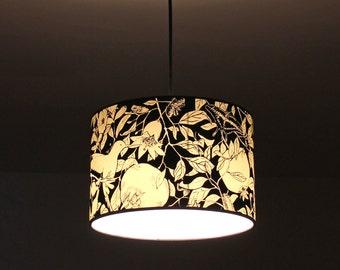 Pendant Lamp black and white, pendant lamp hummingbirds, pendant lamp silkscreening, pendant lamp birds, lamp 30 x 20cm Pomegranate Tree B&W