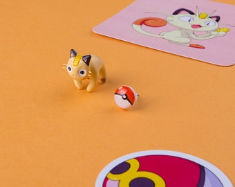 Meowth Cat Earring | Nine studs to choose from last photo | Handmade & Handpainted | Pekomon Collection