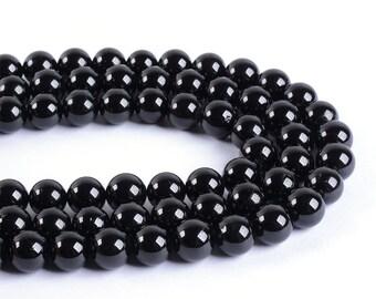 "8mm182 Black Tourmaline round ball loose gemstone beads 16"""