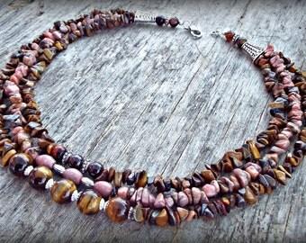 Tigers eye and Rhodonite semi precious statement multi strand necklace