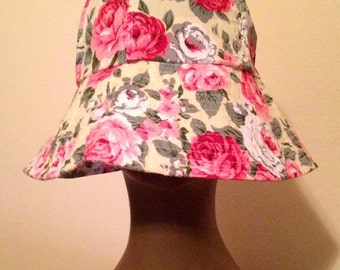 SALE Cool Vintage Floral Print Oversized Brim Bucket Hat