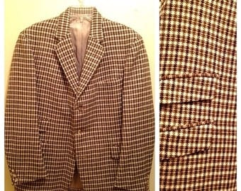 SALE Vintage 60s Brown & Cream Houndstooth Blazer Sports Coat Blazer by Campbell's
