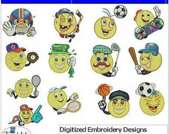 Embroidery Design CD - Sport Smileys(1) - 13 Designs - 9 Formats - Threadart