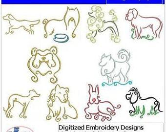 Embroidery Design CD - Dogs(3) - 10 Designs - 9 Formats - Threadart