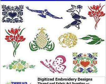 Embroidery Design CD - Folk Art(1) - 11 Designs - 9 Formats - Threadart