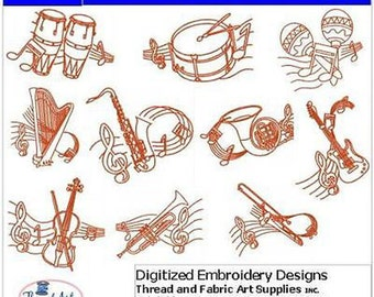 Embroidery Design CD - Musical Instruments - 10 Designs - 9 Formats - Threadart
