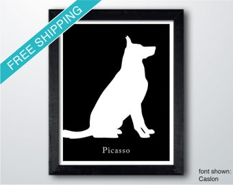 Personalized German Shepherd Silhouette Print with Custom Name (version 2)