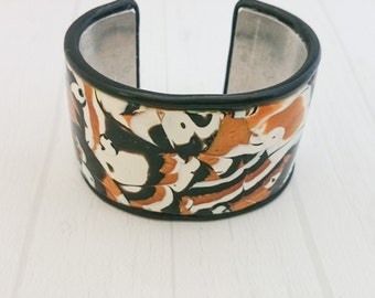 Modern Chic Collection - Cuff Bracelet Polymer Clay Mokume Gane Bracelet Metallic Gold Black White Tile Bracelet OOAK
